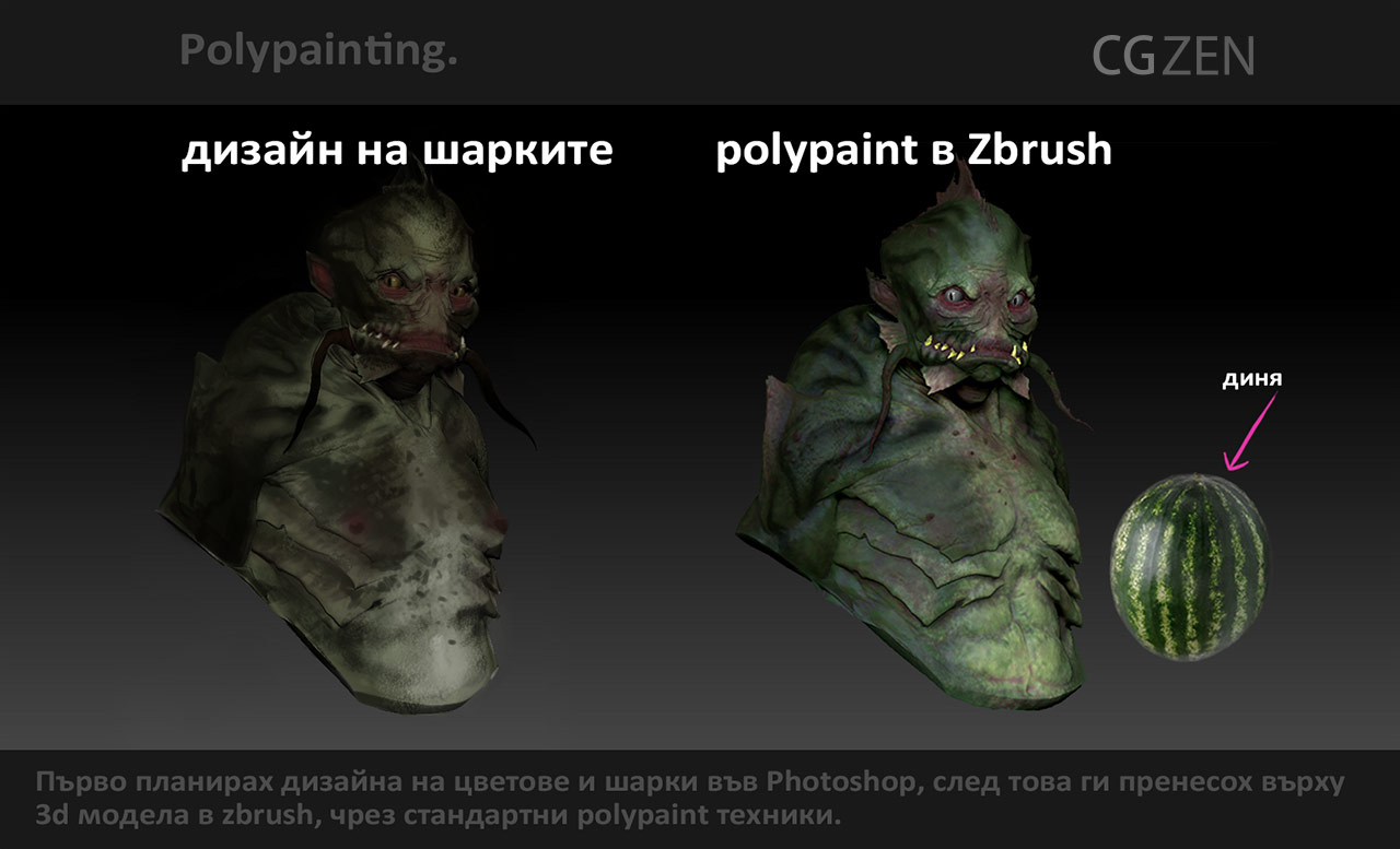 polypainting a creature bust in Zbrush