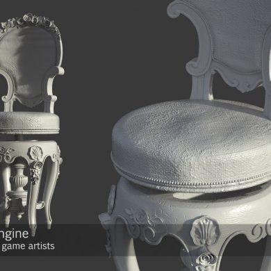Highpoly renaissance chair 3d model