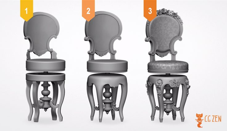 modeling a 3d chair for archviz in three stages of progression inside zbrush