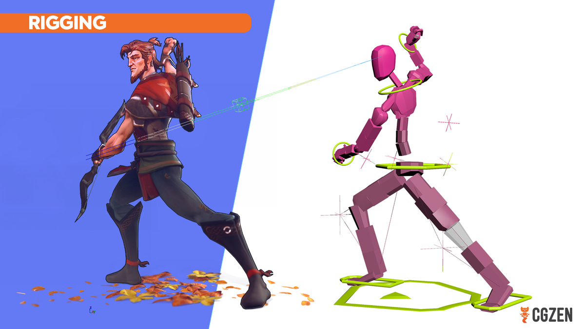 3d character model for game and its corresponding rig