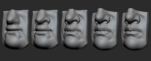 3d model in the various stages of voxel-based sculpting